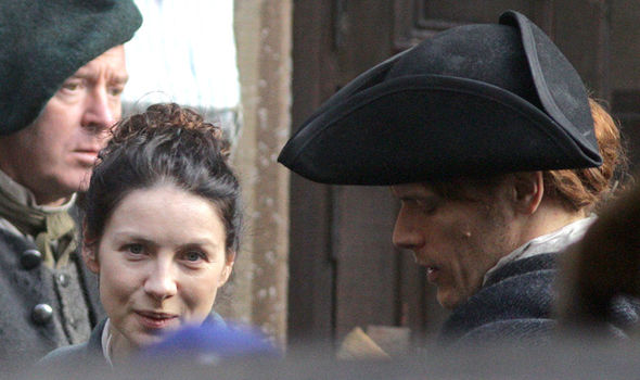 Sam Heughan shoots scenes on Outlander