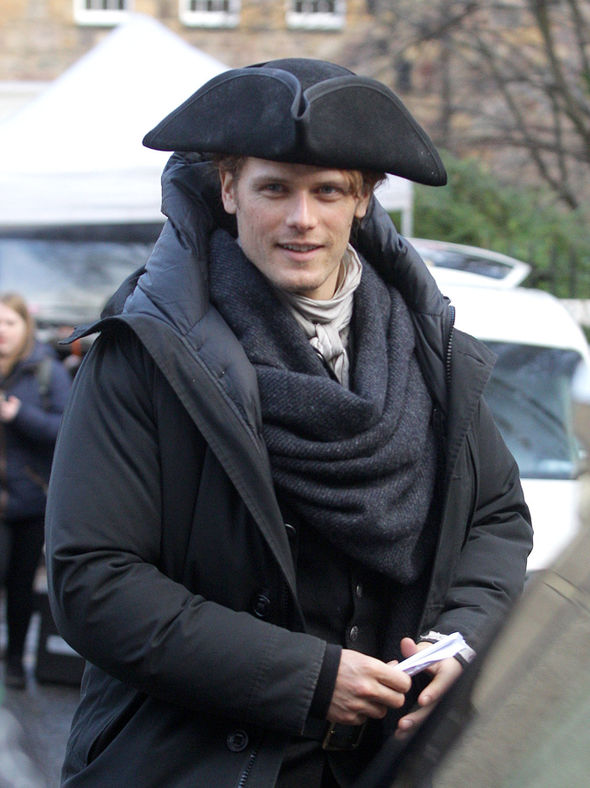 Sam Heughan on the set of Outlander