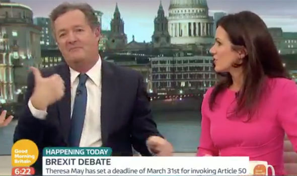 Susanna Reid and Piers Morgan make to walk off on Good Morning Britain