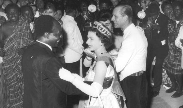 The Queen dances with President Nkrumah in real life