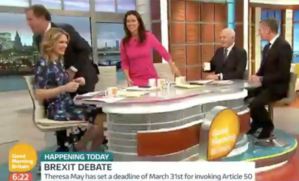 Susanna Reid and Piers Morgan walk off GMB