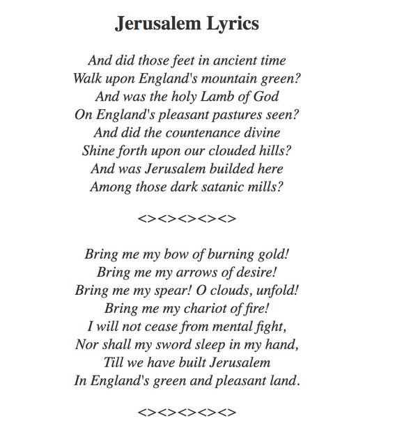 The lyrics to Jerusalem