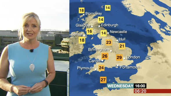 The south of England will see high temperatures t
