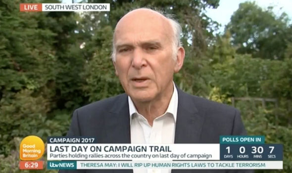 Vince Cable said that he'd shot a rifle at his neighbours' house