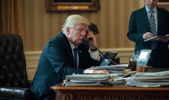 Donald Trump speaking to Putin on the phone
