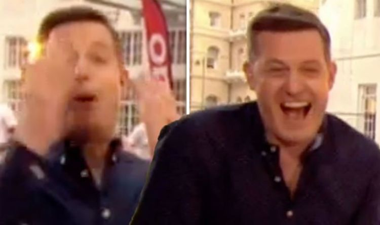 1115634 The One Show: 'In the face!' Matt Baker hit by a dodgeball live on air