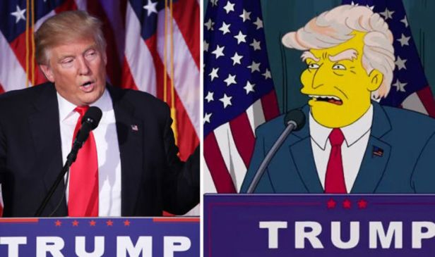Image result for Donald Trump's election victory in The Simpsons