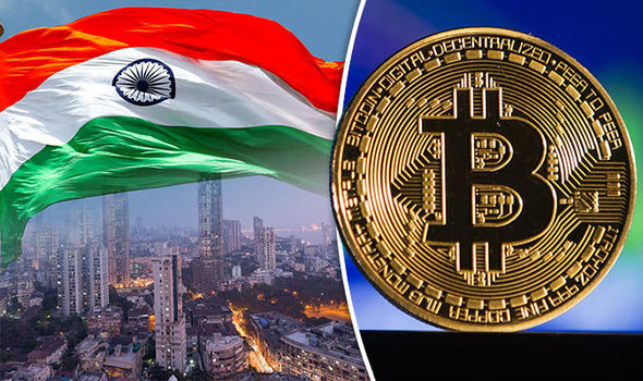 Bitcoin India: BTC token and skyline of Mumbai