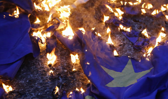 eu flag burned in athens