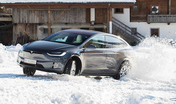 Tesla Model X winter roads test in Alpbach, Austria