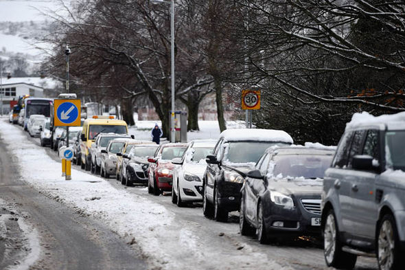 Image result for traffic in the snow uk
