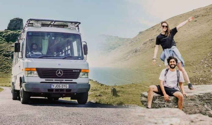 Couple live, work and travel on 'ultimate UK road trip' after transforming van into camper