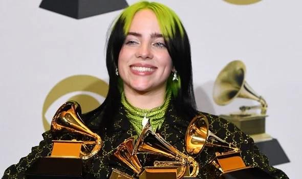 Billie Eilish with her Grammys