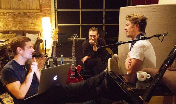 Hanson in the recording studio
