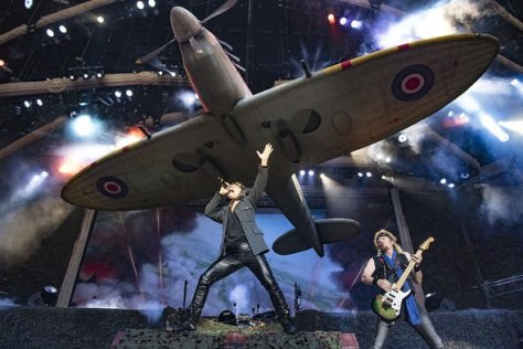 Iron Maiden on stage with their Ed Force One plane