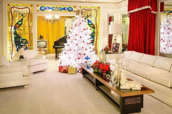inside graceland at christmas