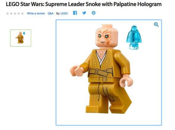 snoke lego figure and palpatine hologram