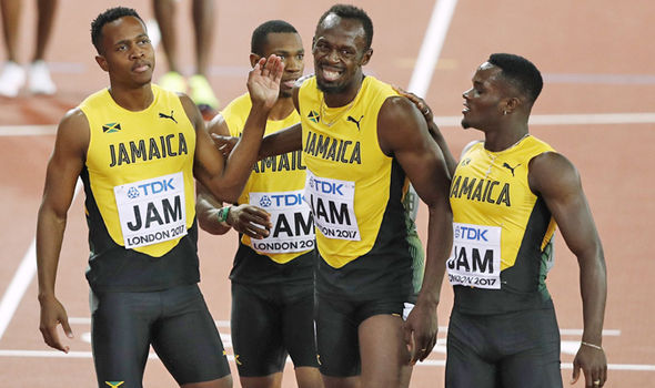 Usain Bolt and his Jamaican relay team