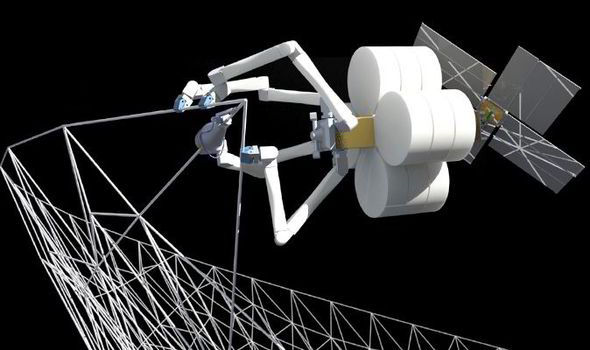 The system uses arachnid-like droids to construct large objects in orbit around the Earth