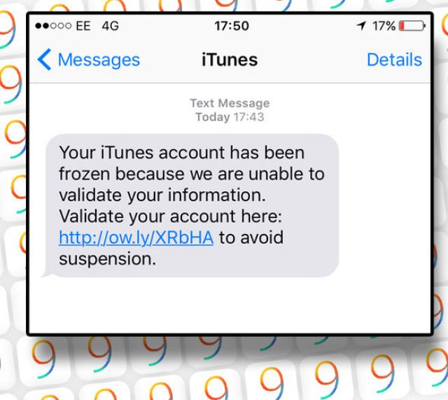 The text warns users that their iTunes account has been frozen