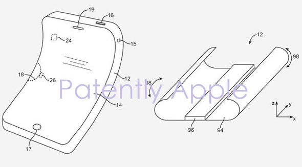 The US patent shows how the technology would work in a flexible smartphone design