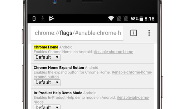 Chrome Home can enabled in the Chrome Canary app on Android