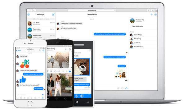 The new Messenger redesign brings it in-line with the standalone Messenger website, pictured above