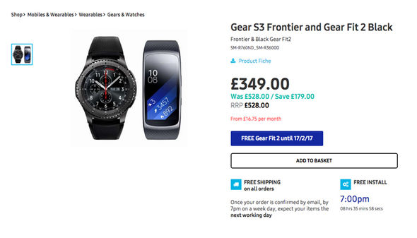 The Gear S3 Frontier and Gear Fit 2 would usually cost £528 online – that's a saving of £179