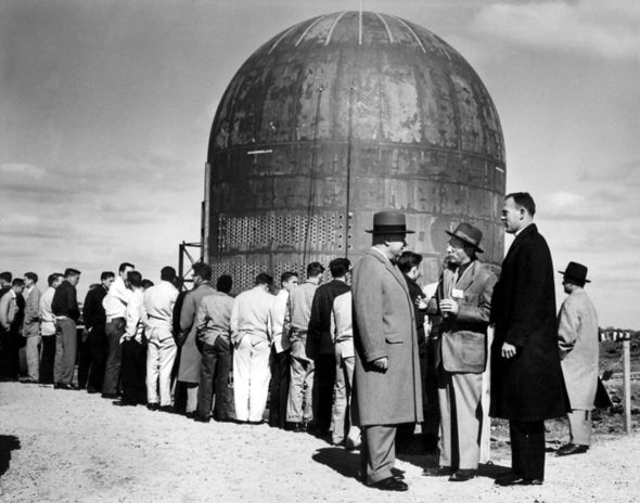 Enrico Fermi outside an atomic energy plant in Newport in October 1957