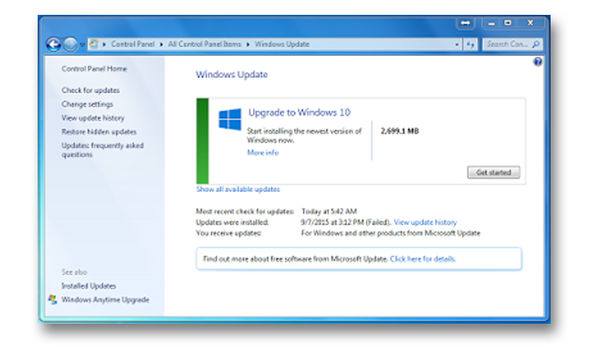 Upgrade to Windows 10 message displayed in earlier versions of the operating system