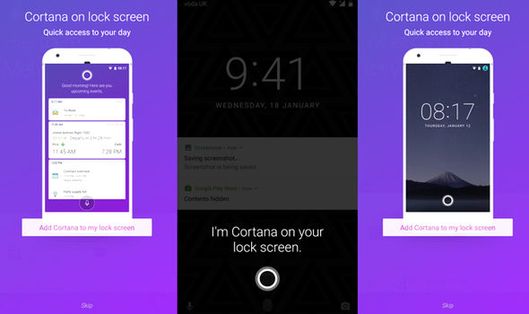 microsoft cortana android smartphone lock screen