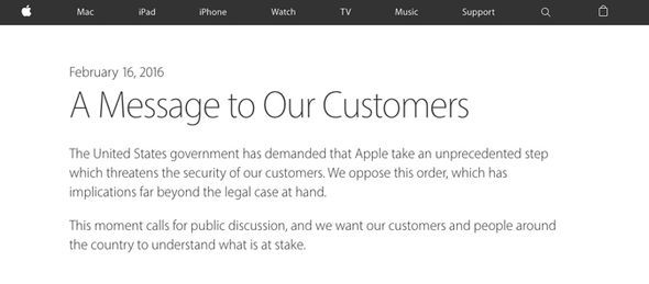 CEO Tim Cook published the open letter on the US technology giant's website