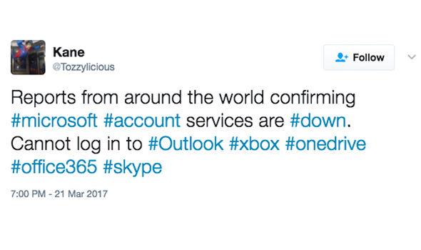 outlook down not working tweet