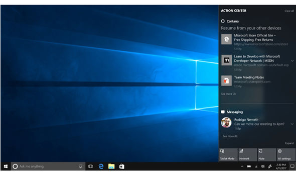 windows 10 creators update cortana action centre