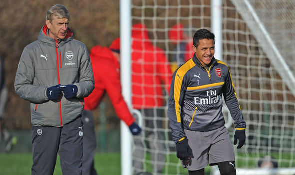 Arsenal's Alexis Sanchez and Arsene Wenger