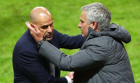 Ajax coach Peter Bosz with Jose Mourinho