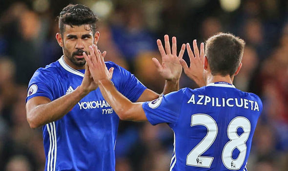 Cesar Azpilicueta and Diego Costa