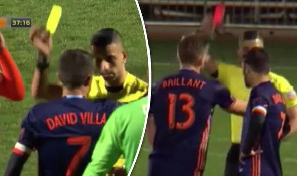 David Villa sent off