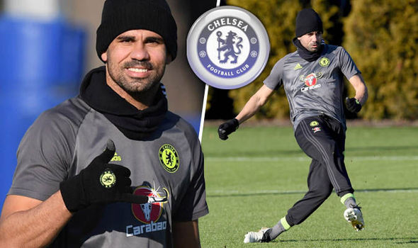 Diego Costa in Chelsea training