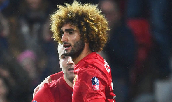 Marouane Fellaini in FA Cup action for Manchester United