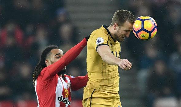 Harry Kane in action for Tottenham against Sunderland last night