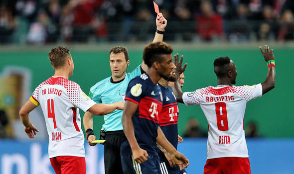Naby Keita plays for RB Leipzig versus Bayern Munich in the Bundesliga