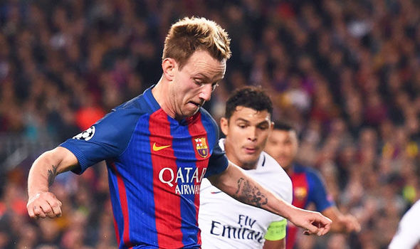 Ivan Rakitic in Champions League action for Barcelona against Paris Saint-Germain