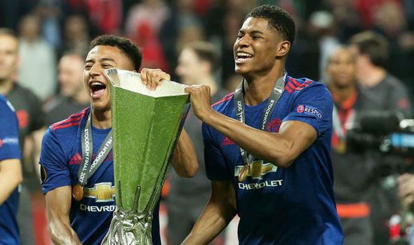 Marcus Rashford celebrates Manchester United's Europa League success