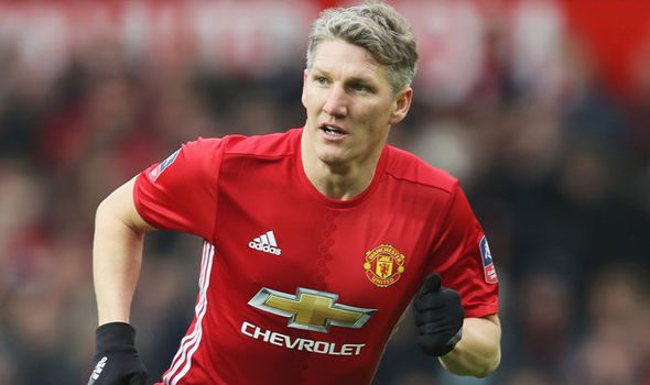 Bastian Schweinsteiger in action for Manchester United