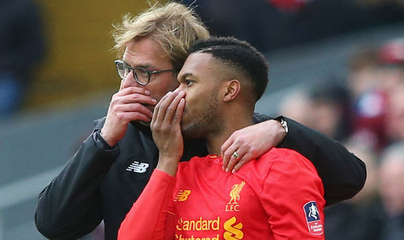 Liverpool striker Daniel Sturridge with Jurgen Klopp