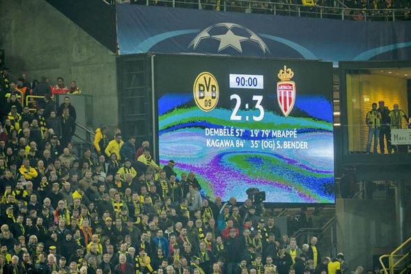 Borussia Dortmund lose to Monaco