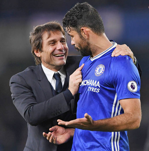 Chelsea manager Conte and striker Costa