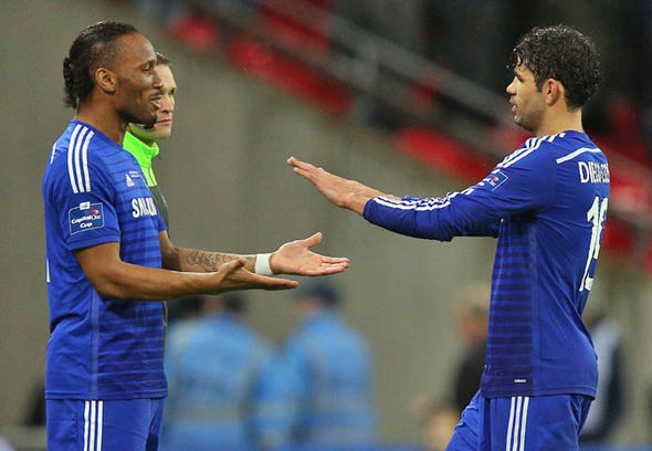 Diego Costa and Didier Drogba at Chelsea
