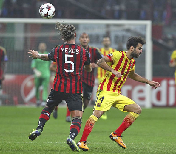 Fabregas playing for Barcelona